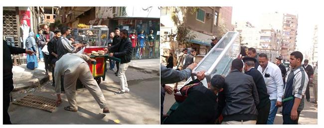 شكل 7: مصادرة رئيس حي عين شمس وفريقه لعربة طعام. المصدر: صفحة رئيس حي عين شمس على فيسبوك، 2016.