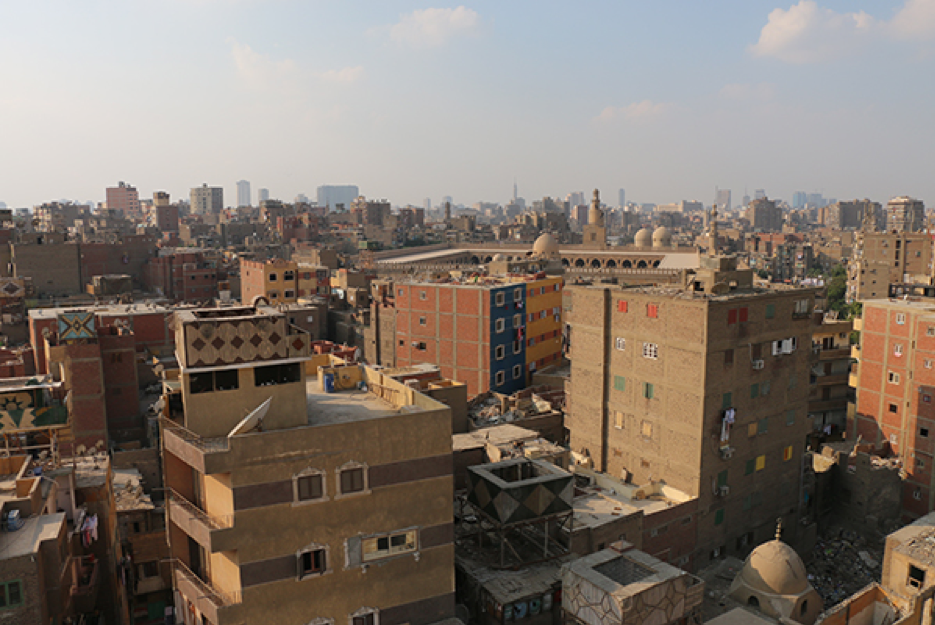 Newly constructed buildings reach up to eight floors, despite the narrow streets. Source: Athar Lina Initiative. n.d.