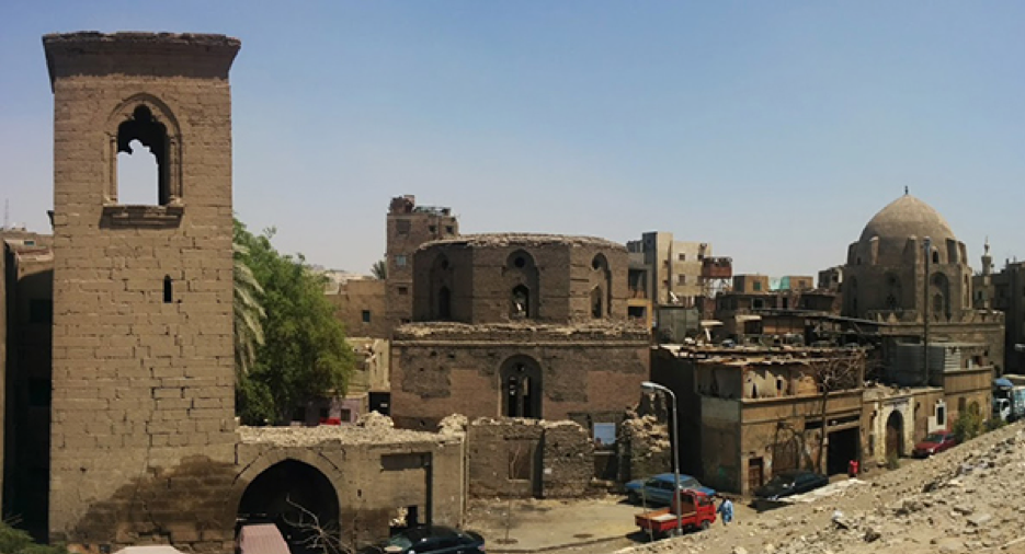 The site of al-'Ashraf Khalīl Shrine (the dome on the right) and Fāṭima Khātūn shrine (the middle). Source: Athar Lina Initiative. n.d.
