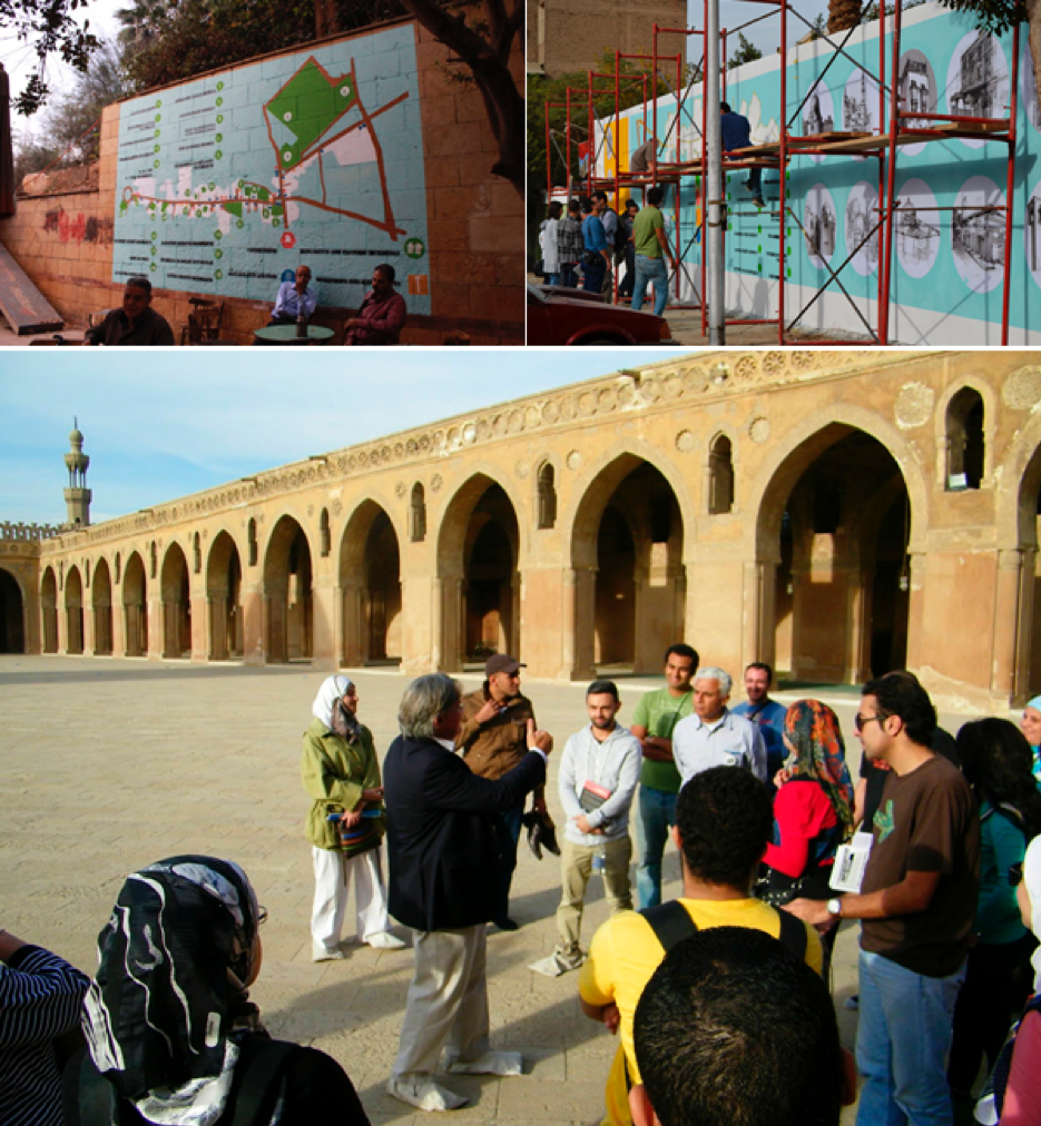 Top right: a team from Athar Lina Initiative drawing a mural to highlight the most important tourist attractions in al-Khalīfa. Top left: a mural by Athar Lina presenting the most important landmarks at the entrance of al-Khalīfa Street. Below: al-Khalīfa tours. Source: Athar Lina Initiative. n.d.