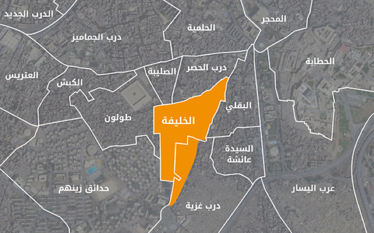 Areas surrounding al-Khalīfa shiyākha. Shiyākhas Map. Source: Tadamun 2016.