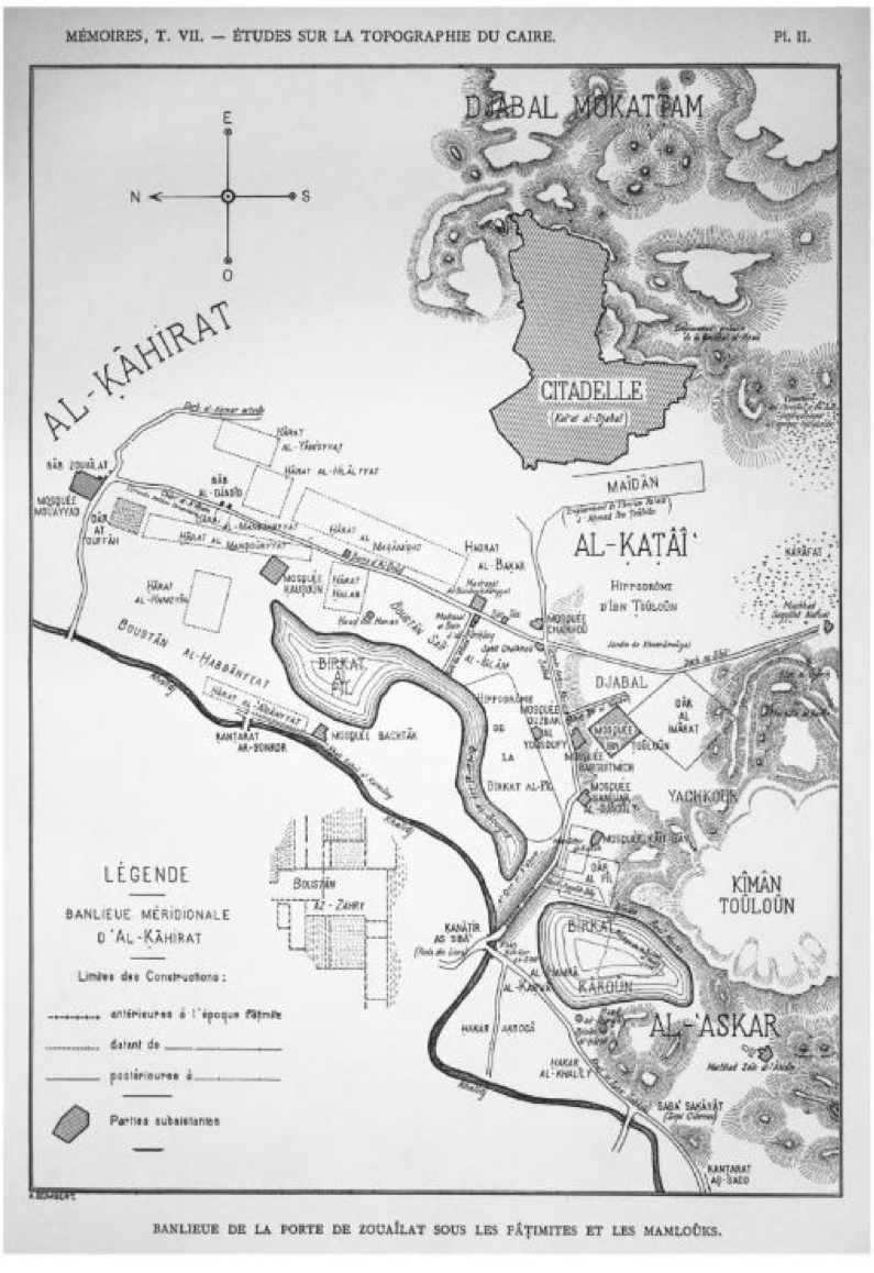 This 1902 Al-Qaṭaʾiʿ map by George Salmon illustrates the Palace/Citadelle, square for military parades, Ibn Ṭūlūn Mosque, and Dār al-ʿImāra. Tariq Salim argues that the map shows al-Qaṭaʾiʿ as it appeared in the Mamluk period, which creates some confusion in studying al-Qaṭaʾiʿ. Source: Swelim 2015.