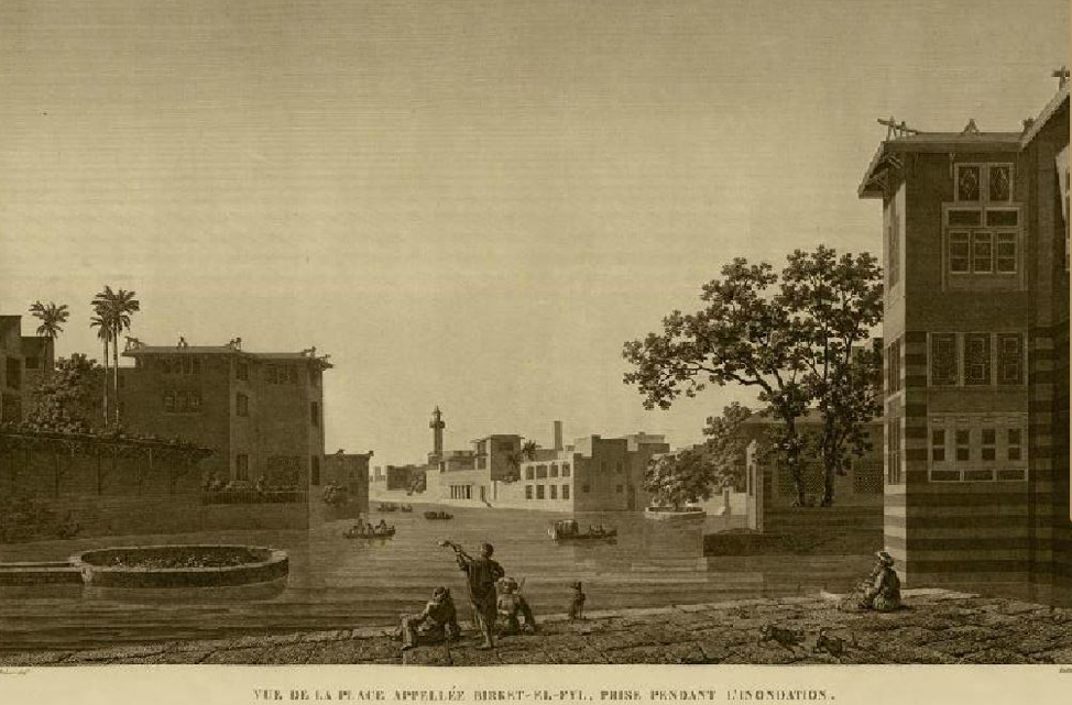 A view of Birkit al-Fīl and the houses surrounding it. Photographed by a French Orientalist after nearly 800 years of demolition of al-Qaṭaʾiʿ. Source: Commission of Scientists and Arts in Egypt 1809.