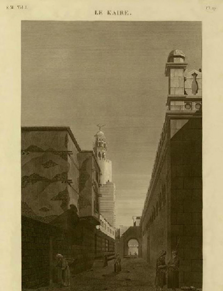 Exterior view of the Ibn Ṭūlūn Mosque. Photographed by a French Orientalist after nearly 800 years of demolition of al-Qaṭaʾiʿ. Source: Description de l'Égypte, 1809.