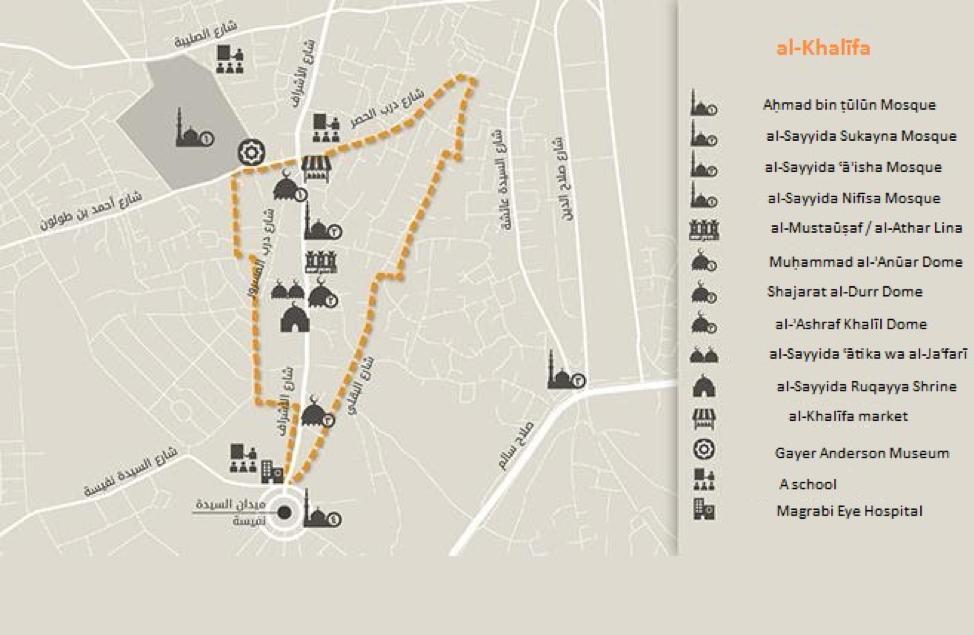 Main landmarks in the al-Khalīfa neighborhood. Source: Tadamun 2016