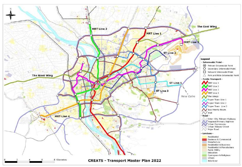مخطط (CREATS) الرئيسي للمواصلات لسنة 2022 – المصدر (JICA 2002)