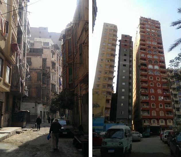 مقارنة بين المباني القديمة في المنطقة (يسار) والمباني الجديدة الشاهقة (يمين) (المصدر: الكاتبة)