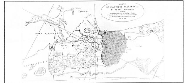 الشكل 2: خريطة الإسكندرية القديمة ويظهر فيها الجسر (الهيبتاستاديوم) الذي يربط جزيرة الفراعنة بالبر الرئيسي (المصدر: الفلكي)
