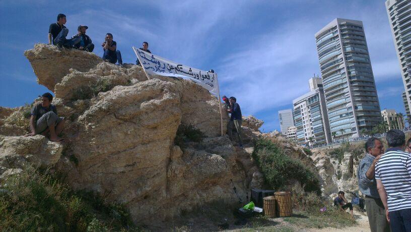 الصورة 1: نشطاء في دالية الروشة. الصورة: ربى داغر