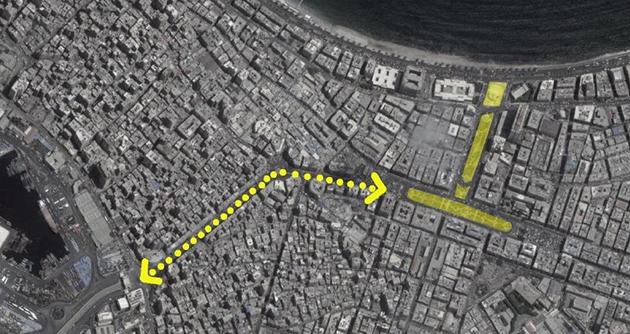 الشكل 6: خريطة تظهر طريق النصر الذي يربط ميدان المنشية بالميناء. (المصدر: غوغل مابس)