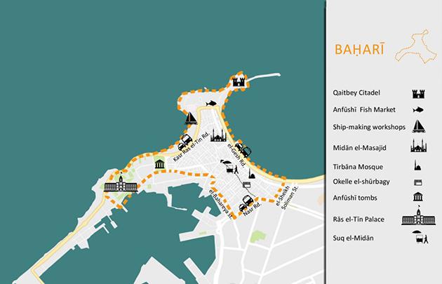 الشكل 8: خريطة لأهم معالم حي بحري