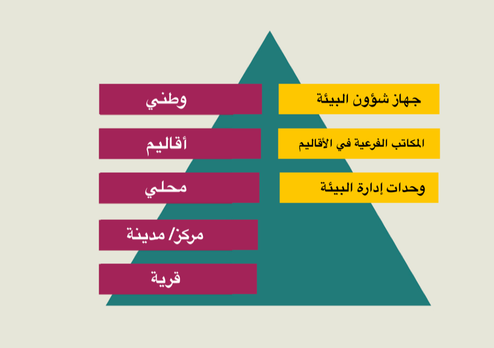 هيكل إدارة البيئة في مصر. المصدر: جهاز شؤون البيئة المصري