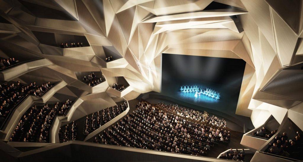 الصورة 1: صورة تعبيرية لقاعة الاحتفالات داخل مسرح الرباط الكبير المخطط إنشاؤه، تصميم شركة زها حديد للهندسة المعمارية.