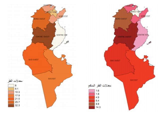 الشكل 1: معدلات الفقر والفقر المدقع بحسب المناطق في تونس، 2010 (المعهد الوطني للإحصاء، 2012، ص. 16).