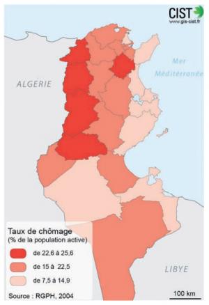 الشكل 2: معدلات البطالة بحسب المحافظات التونسية (Ordu et al. 2011).