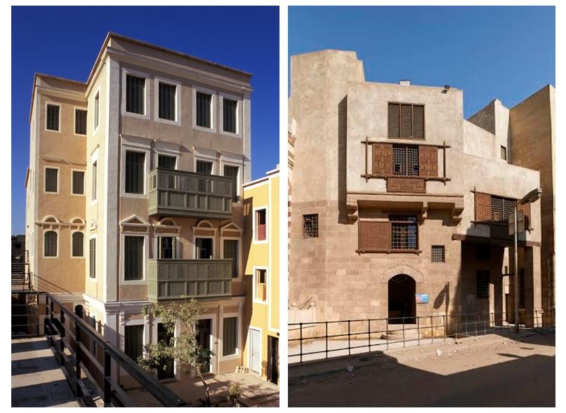 المبنيان بعد الانتهاء من ترميمهما. المصدر: صندوق الآغا خان للثقافة وموقع آركنت