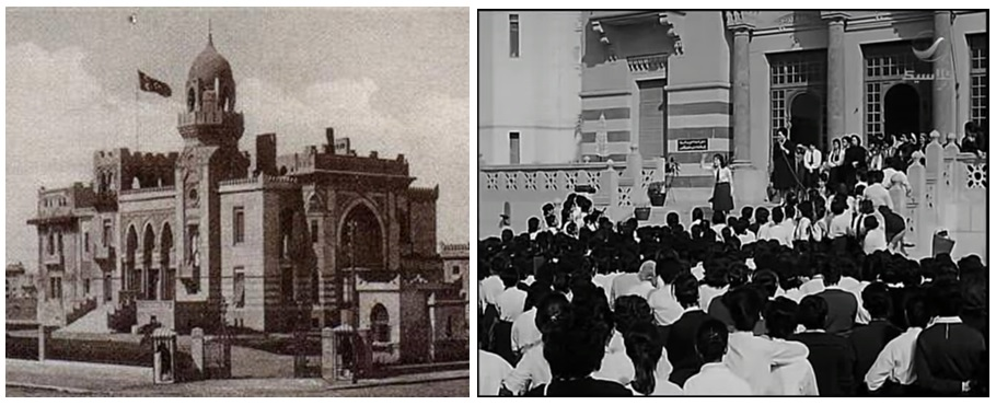 """في خمسينيات القرن الماضي، تحول قصر السلطانة ملك إلى مدرسة ثانوية للبنات. وقد ظهر القصر الذي تحول إلى مدرسة في المشهد الأول لفيلم """"الباب المفتوح"""" لهنري بركات (سنة 1964). لاحظ النسق المعماري """"الأبلق"""" الظاهر في الصورة والفيلم."""