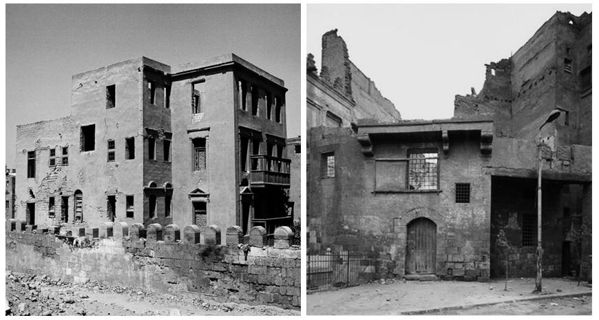 مدرسة درب شغلان (يسار) والبيت العثماني (يمين) قبل الترميم